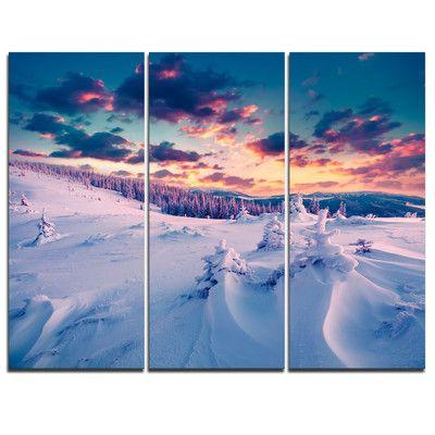 Designart Winter In Carpathian Mountains 3 Piece Graphic Art On Wrapped Canvas Set Wayfair Canvas Set Graphic Art Design Art