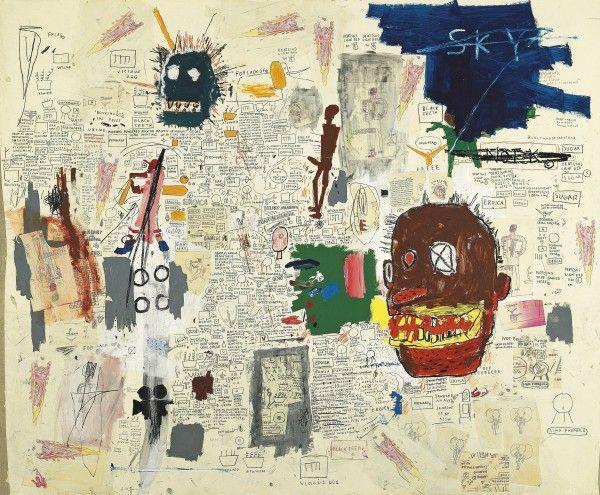 Jean-Michel Basquiat, (Haïti) Untitled, 1987 [Sin título], acrílico, lápiz graso, grafito, lápiz de color y collage de fotocopias sobre papel montado sobre tela, 229 x 274 cm. Colección particular© 2012