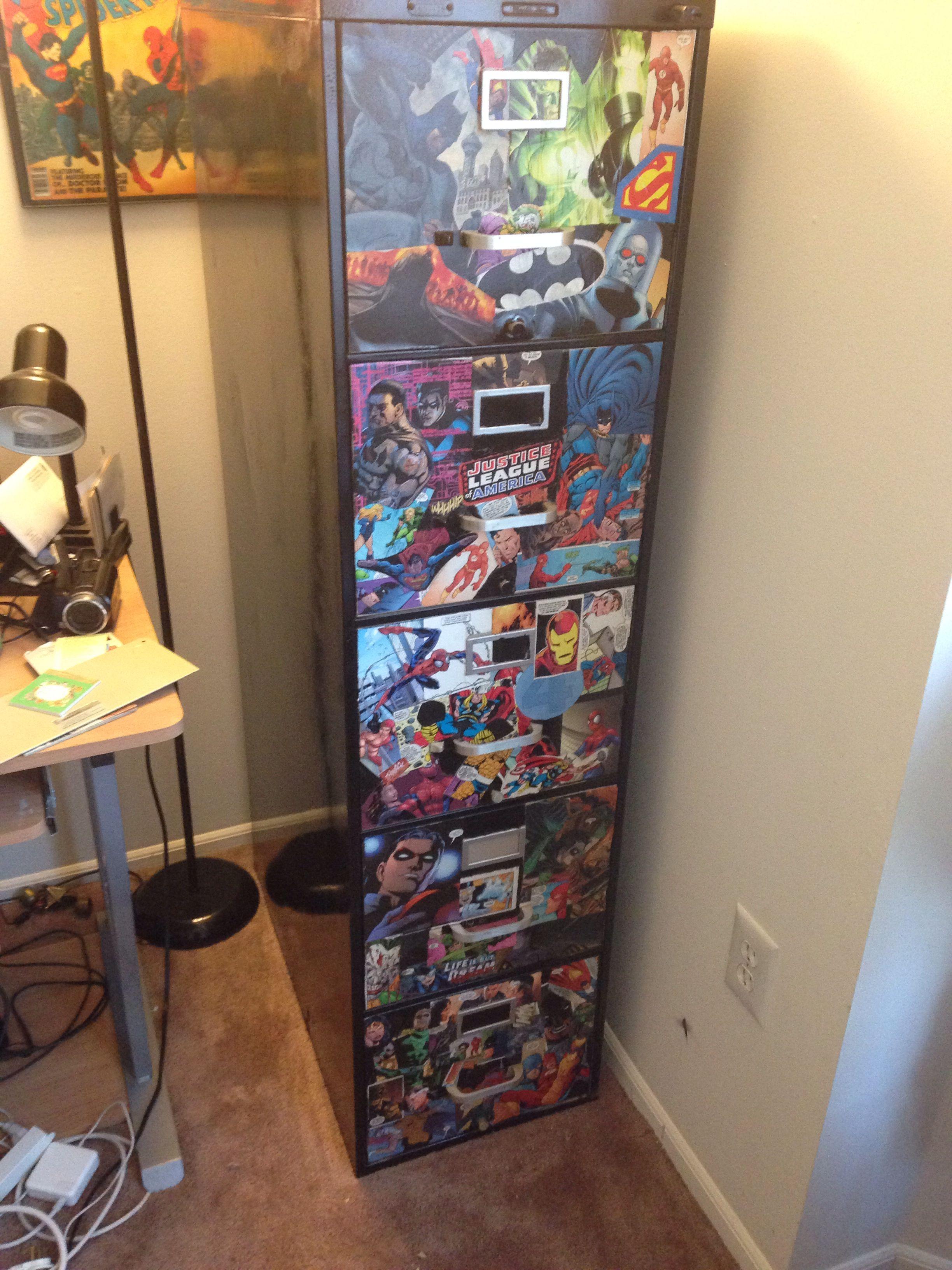 comics in filing cabinet diy decoupage comic storage pinterest decoupage filing and comic. Black Bedroom Furniture Sets. Home Design Ideas