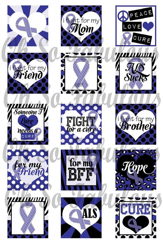 ALS Awareness Blue Ribbon 1 inch Squares Images by