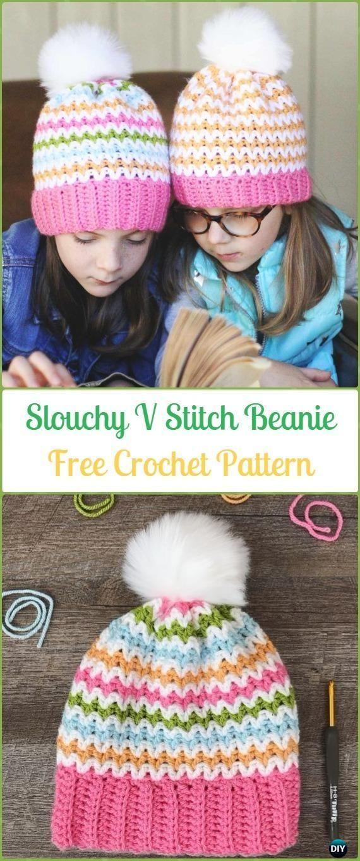 Crochet Slouchy V Stitch Beanie Hat Free Pattern-Crochet Slouchy ...