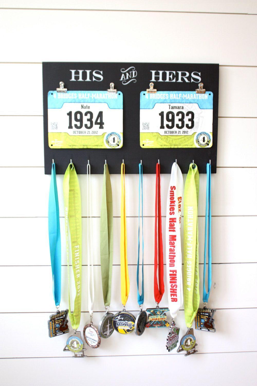 Gift for Runners - Couple - Race Bib and Medal Holder ...
