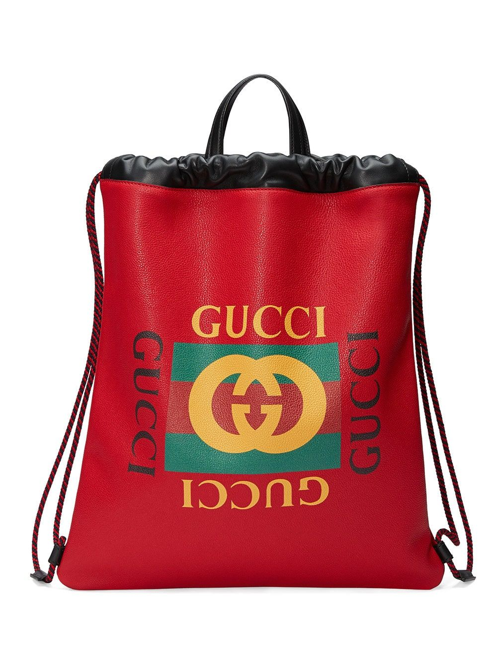 9cae5d0d6636 Gucci Gucci Print Leather Drawstring Backpack | bags-dope backpack ...