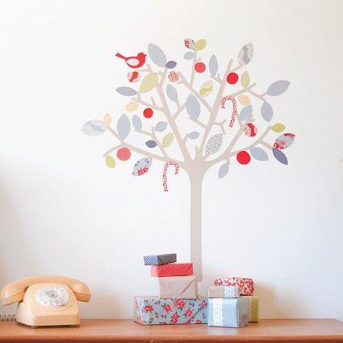 fabric christmas tree wall stickers + a freebie - home - creature