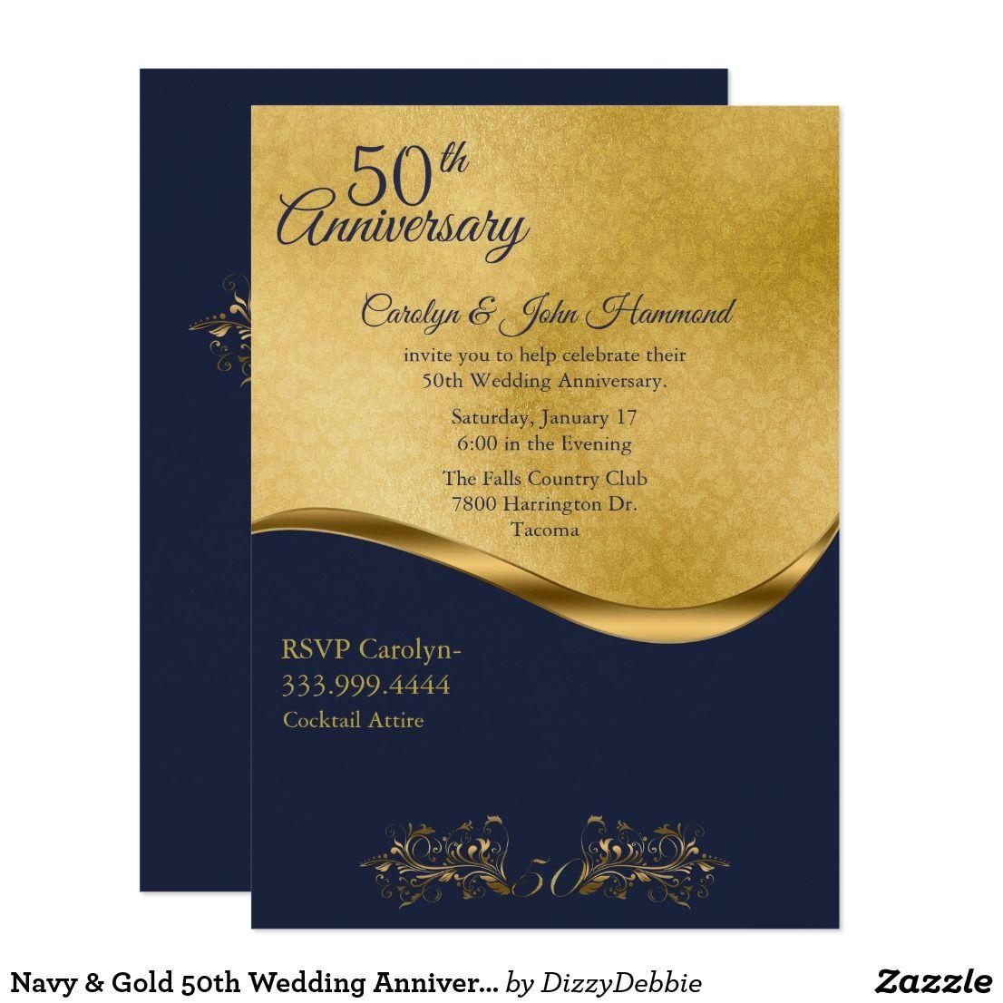 Navy Gold 50th Wedding Anniversary Invitation Zazzle Com In