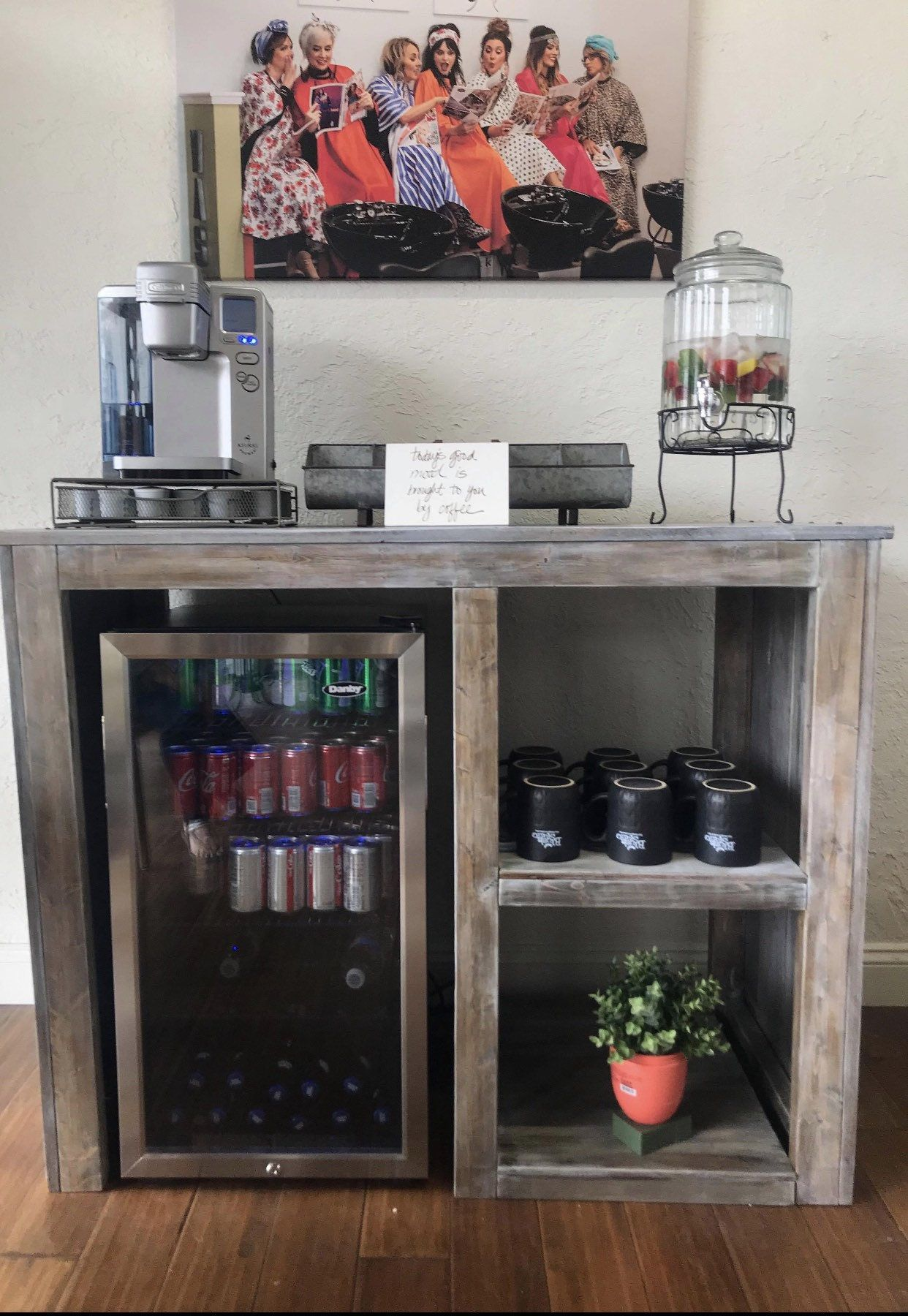Mini Fridge Table Coffee bar home, Bars for home, Decor