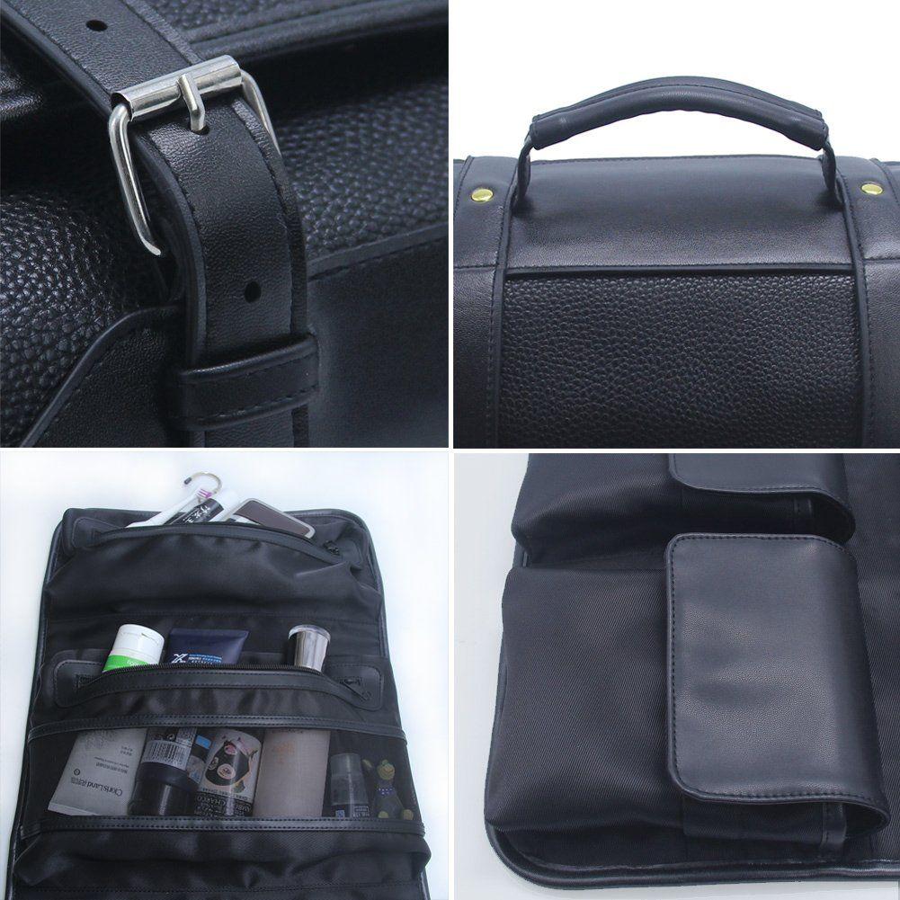 e7f466b4d5 Hanging Toiletry Bag for Men Leather Travel Shaving Dopp Kit Organizer with  Portable Travel Kit Organizer