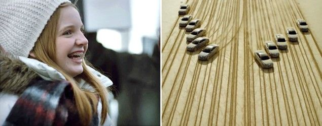A 13-year-old sent a message to her astronaut father in space using tire tracks. (HyundaiWorldwide/YouTube)