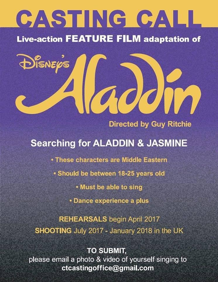 Job Disneys Live Action Aladdin Open Casting Call For Lead Roles