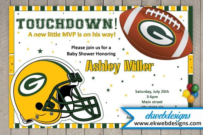 Custom Green Bay Packer Baby Shower Invitations Packers Baby Shower Green Bay Packers Baby Packers Baby