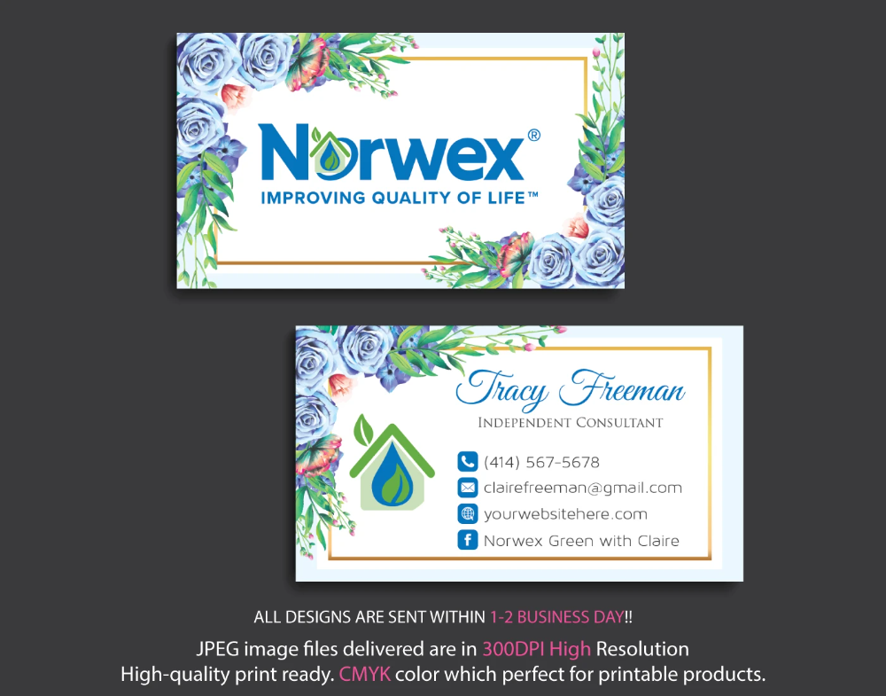 Norwex Business Cards Personalized Norwex Template Nr12 Cleaning Business Cards Custom Business Cards Personal Business Cards