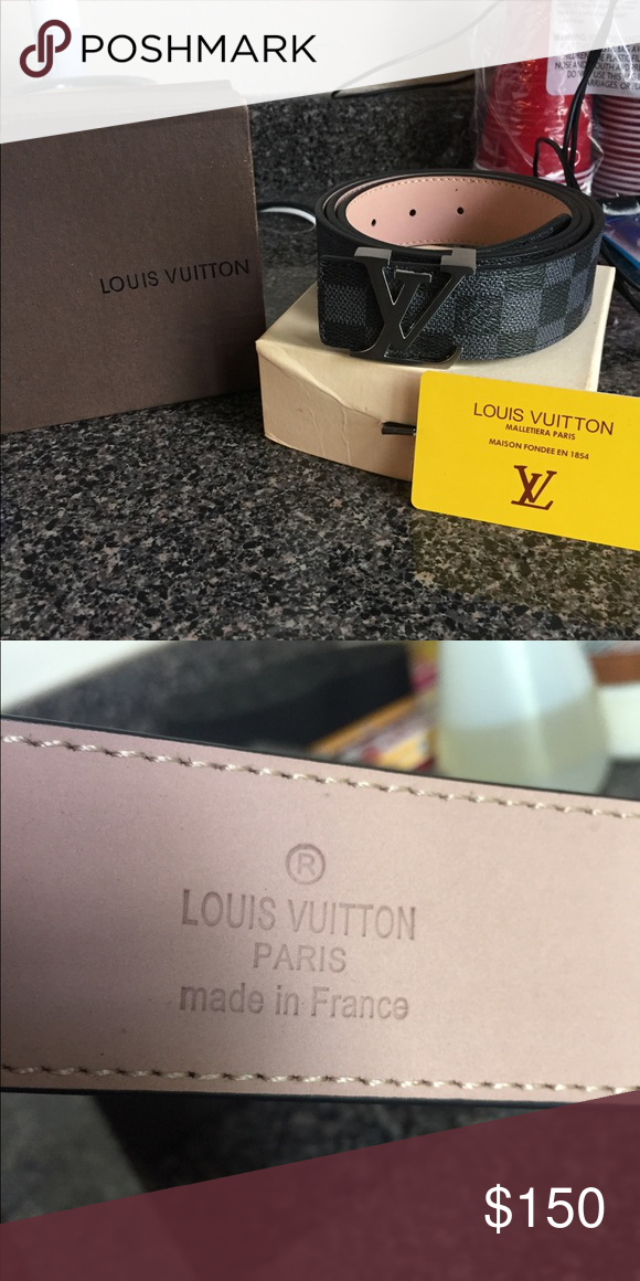 df9d5be1df43 Luis Vuitton Belt Size 34-36 Louis Vuitton Belt Black Size 34-36 (100%  Authentic) Comes with original box and Dust bag Ships same business day  with 1-2 day ...