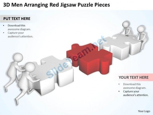 D Men Arranging Red Jigsaw Puzzle Pieces Ppt Graphics Icons