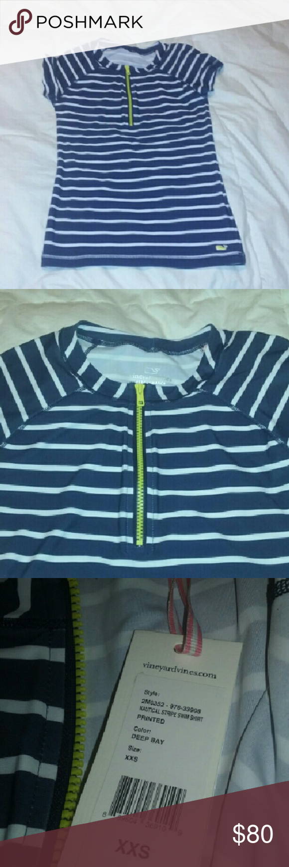 "Vineyard Vines NEW Nautical Stripe Swim Shirt XXS Brand new with tags!? Approx measurements, laid flat: chest 14"", length 23"".? Great find! Vineyard Vines Swim"