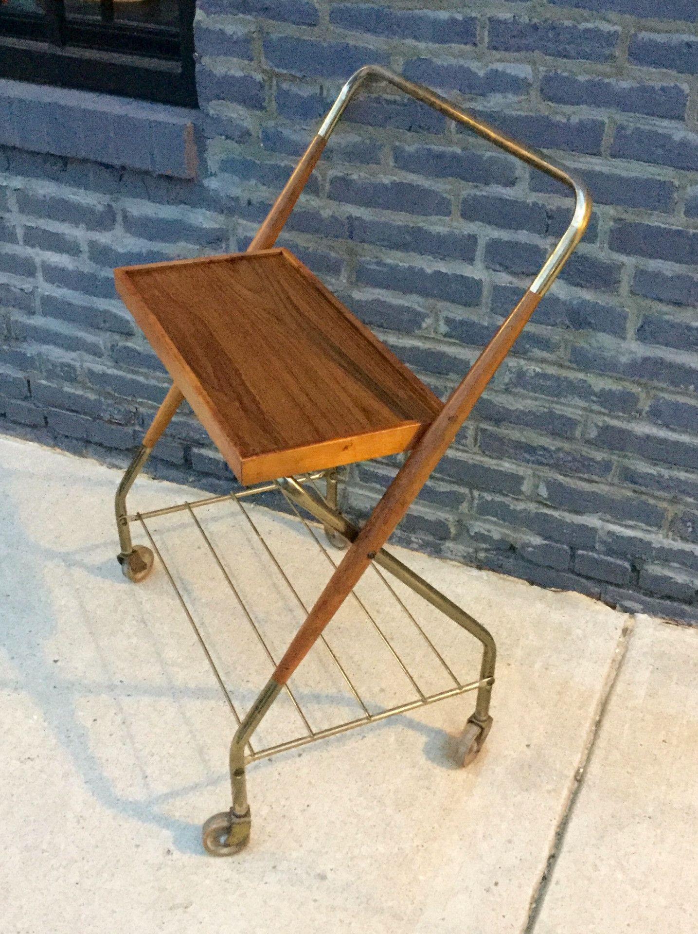 Vintage wood and Brass Cart on Casters