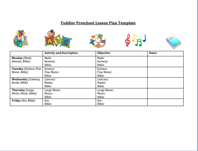 Toddler Preschool Lesson Plan Template Lesson Plan Templates