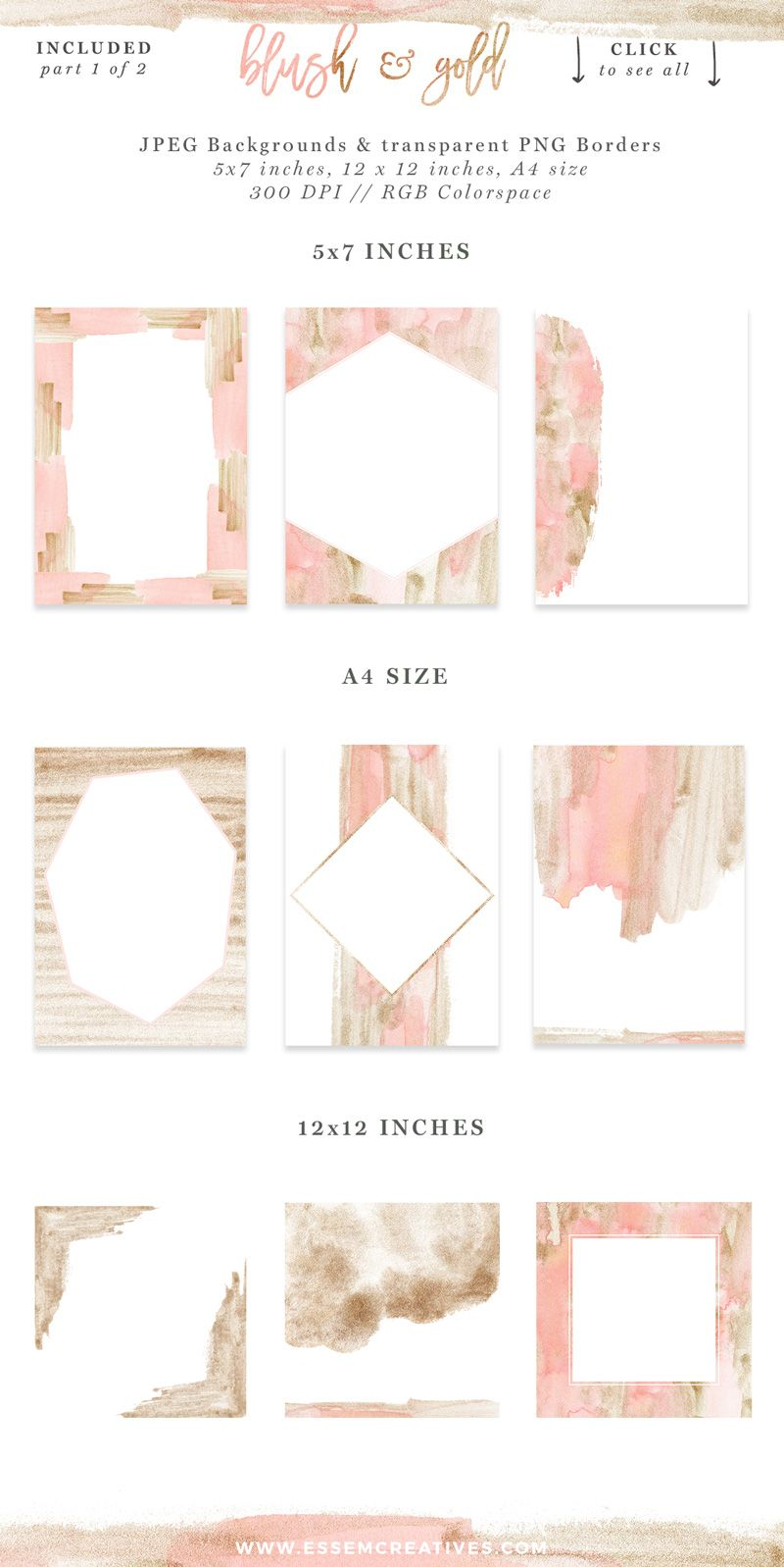 Blush Pink And Gold Watercolor Textures For Wedding Invitations