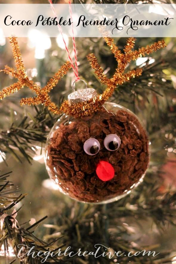 Cocoa Pebbles Reindeer Ornament #christmasornaments #christmas #ornaments #reindeer