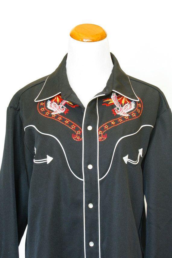 b256ece81fa 80 s Vintage Mens Western Shirt Cowboy Style by pinebrookvintage