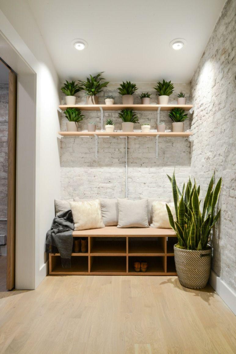 banco de madera zapatero con cojines … | casa | P…