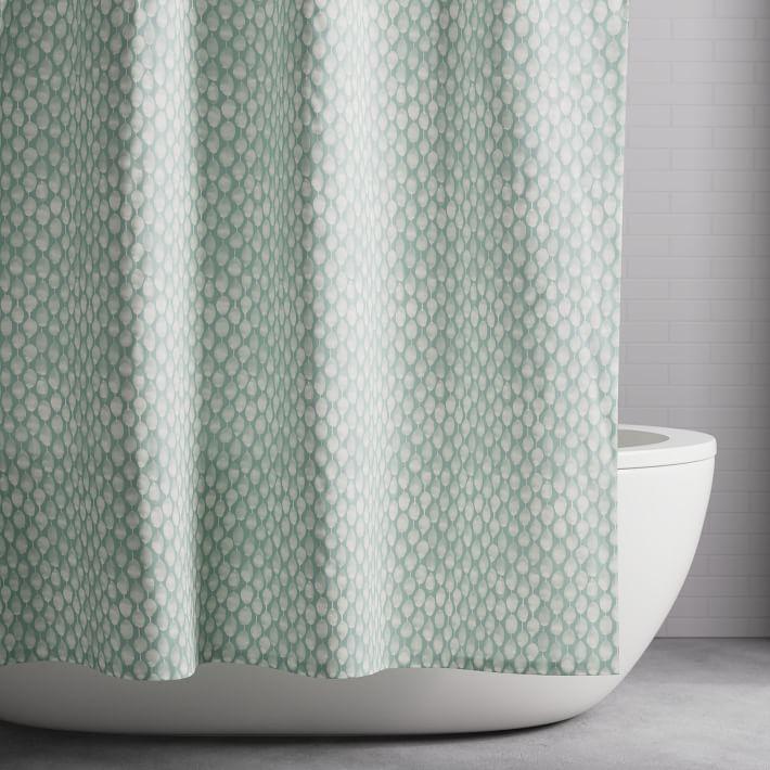 Organic Stamped Dots Shower Curtain Light Pool Modern Shower