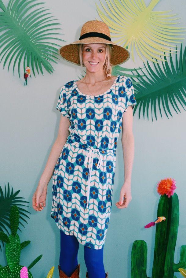"""Jersey-Kleid mit """"LIVIA"""" in creme blau"""