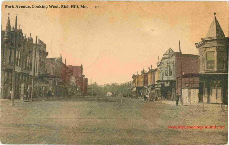 Rich Hill Missouri Park Avenue Looking West Vintage Postcard Photo Historic Antique Rich Hill Vintage Postcard Missouri