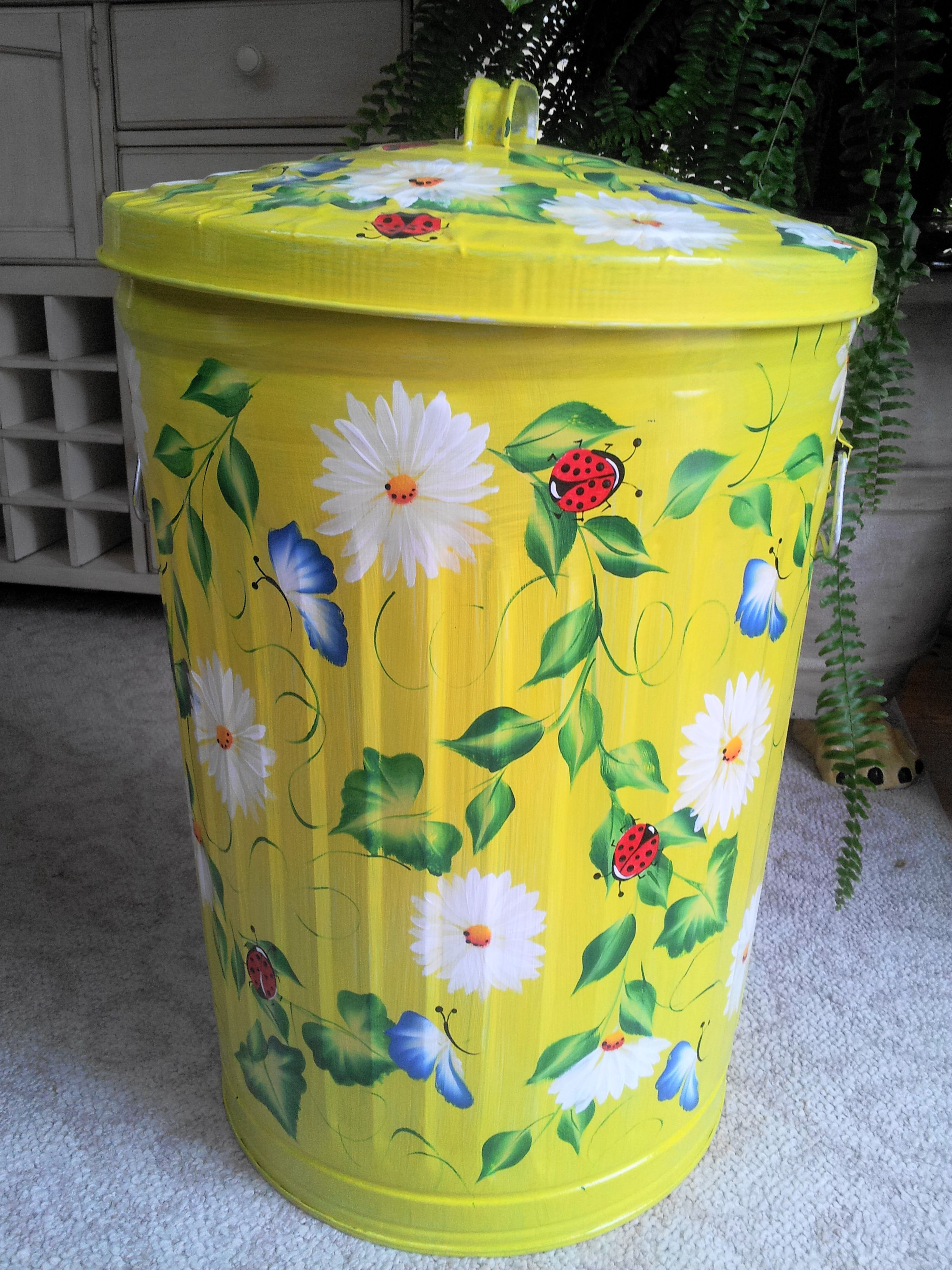 hand painted 20 gallon trash can etsy