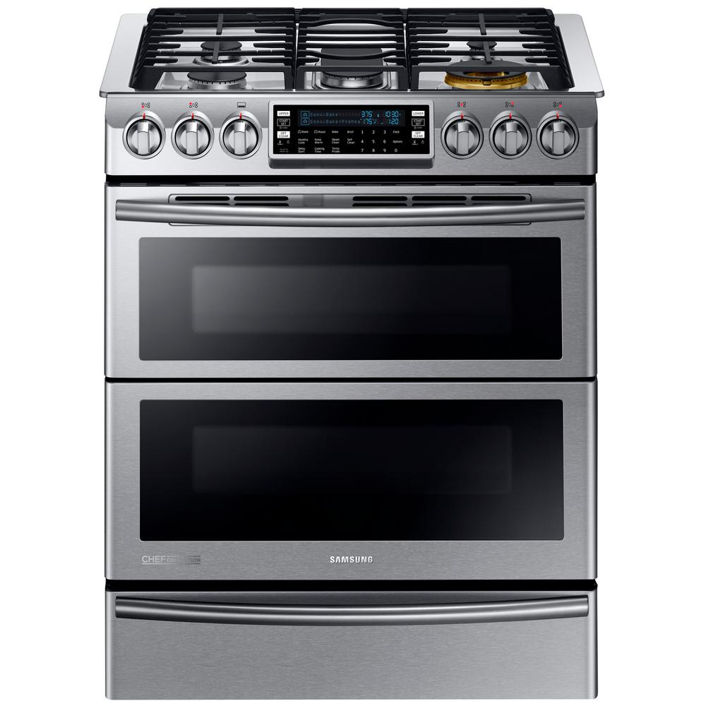 Ge Profile 6 7 Cu Ft Double Oven Slide In Gas Range With