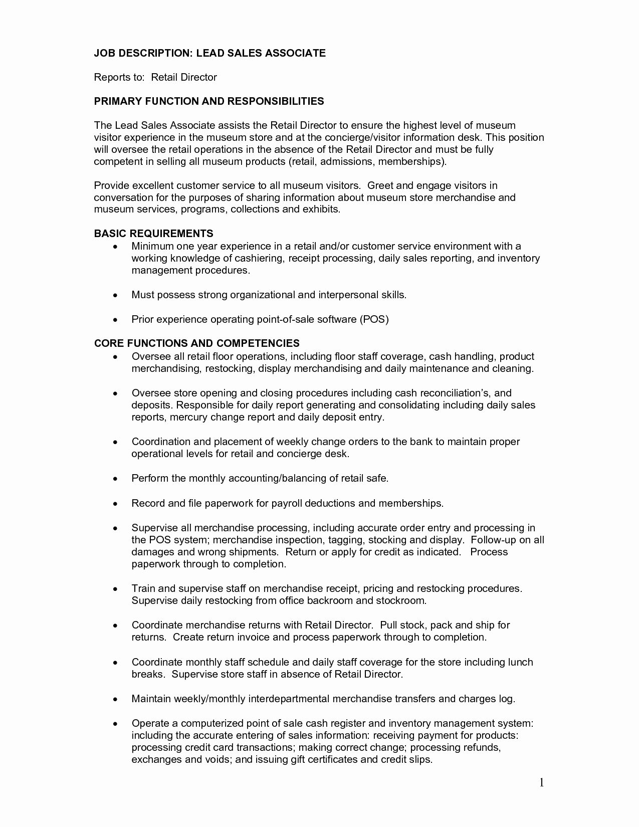 Job Description Definition Resume