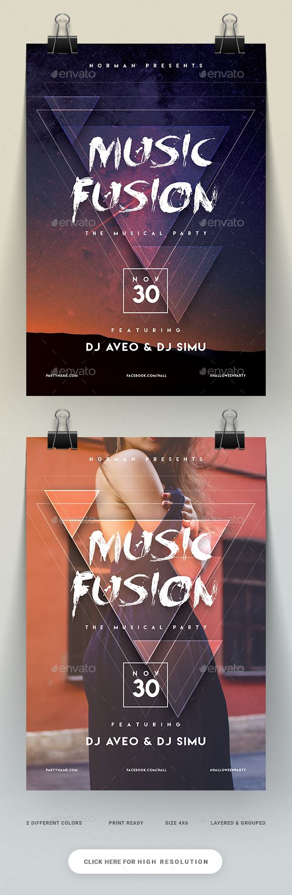 Music Fusion Party Flyer — PSD Template #hardcore #spirit ...