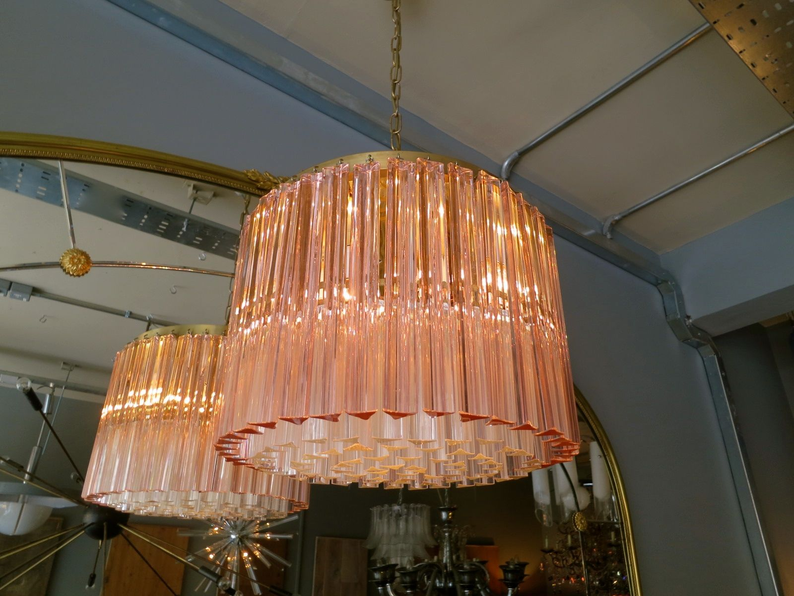 """drum"""" Murano chandelier with Champagne pink outer ring"""
