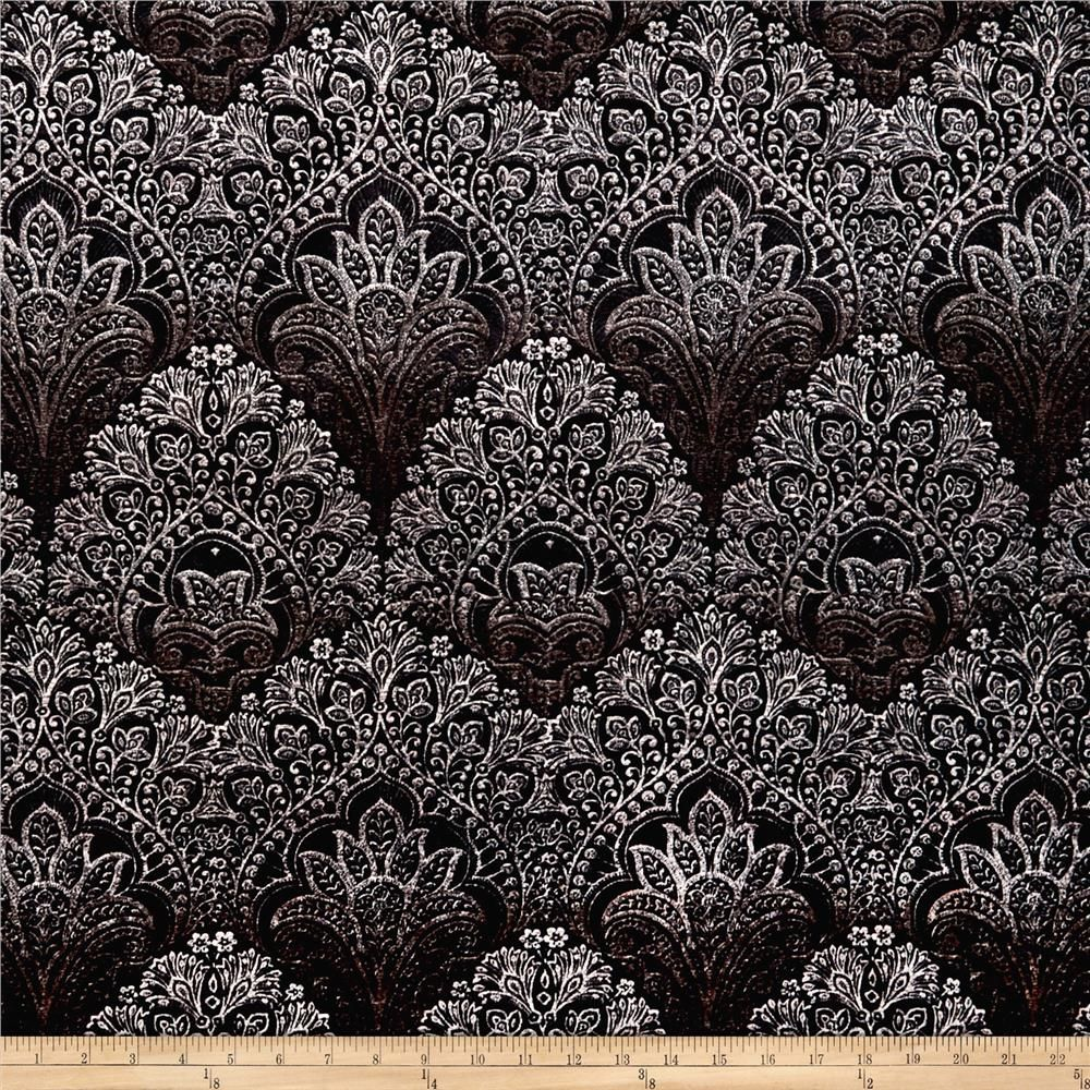 Stretch Velvet Print Bohemian Paisley Black/Rust Stretch