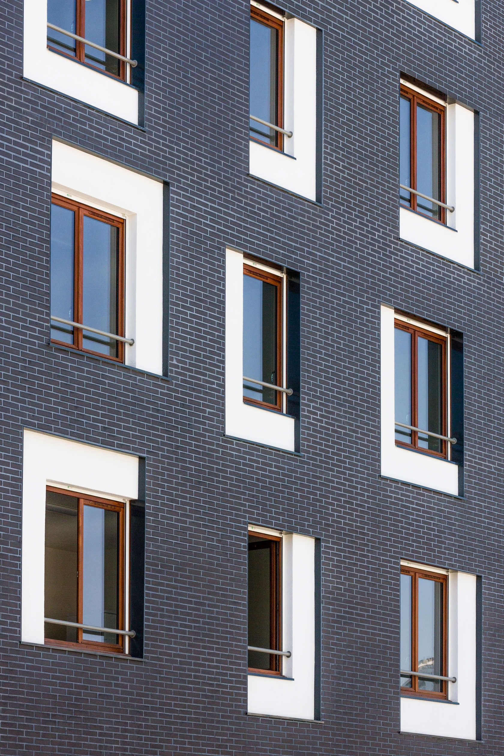 Social housing exterior facade brick white window detail for Building window design