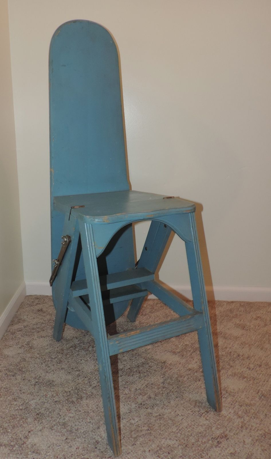 Antique Jefferson Bachelor Chair 3 in 1 Wood Ironing Board Step Stool Blue  Paint Iron Board - Antique Jefferson Bachelor Chair 3 In 1 Wood Ironing Board Step