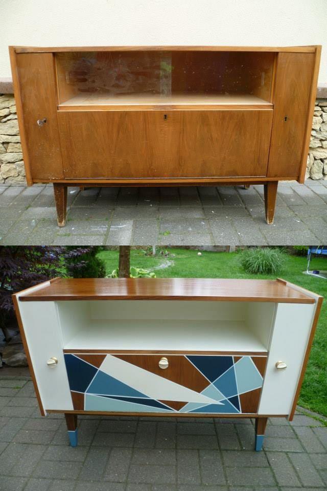 Enfilade vintage pieds compas relookée Peinture + changement tiroir - peindre avant de tapisser