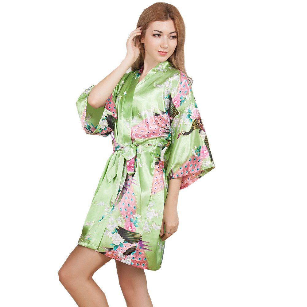 New Wedding Bride Bridesmaid Robe Floral Bathrobe Short Kimono Night ... f5eded3ce