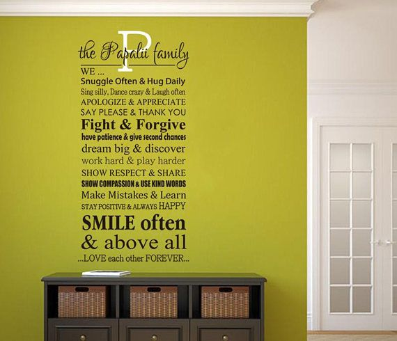 Wall Art Decal Personalized Family Name and Rules | Designer wall ...