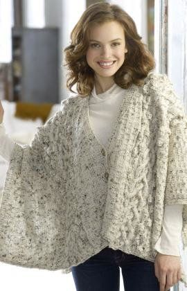 Free knitting pattern womens shrugs wraps capes aran wrap free knitting pattern womens shrugs wraps capes aran wrap knitshawlsplus pinterest knitting patterns cape and wraps dt1010fo