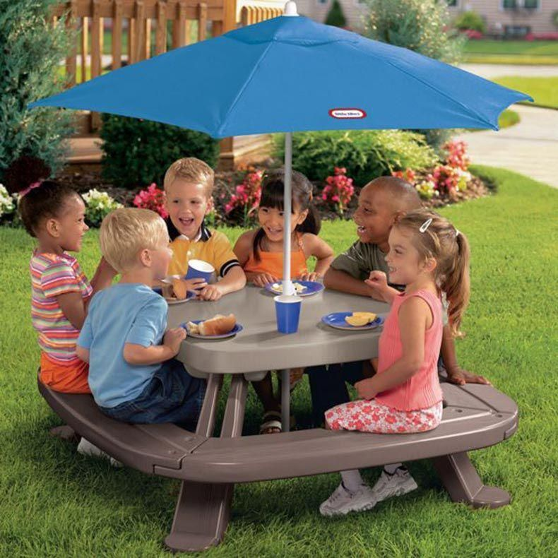 Fold N Store Picnic Table With Market Umbrella In 2019 Kids Toys