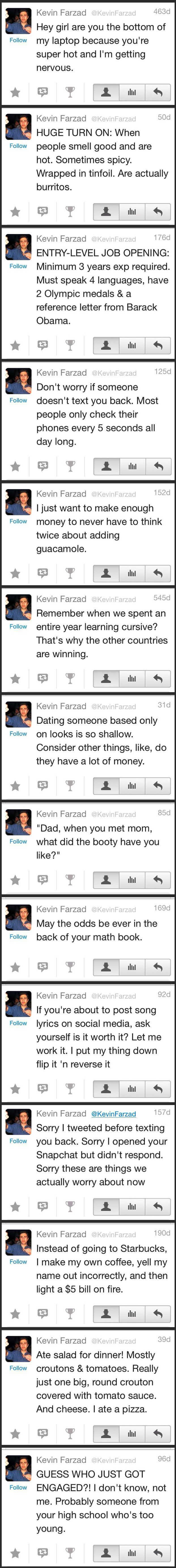 A Collection Of Kevin Farzad Tweets Hilarious Humor And Funny - Ryan reynolds politely responds to fans dirty tweets and its just hilarious