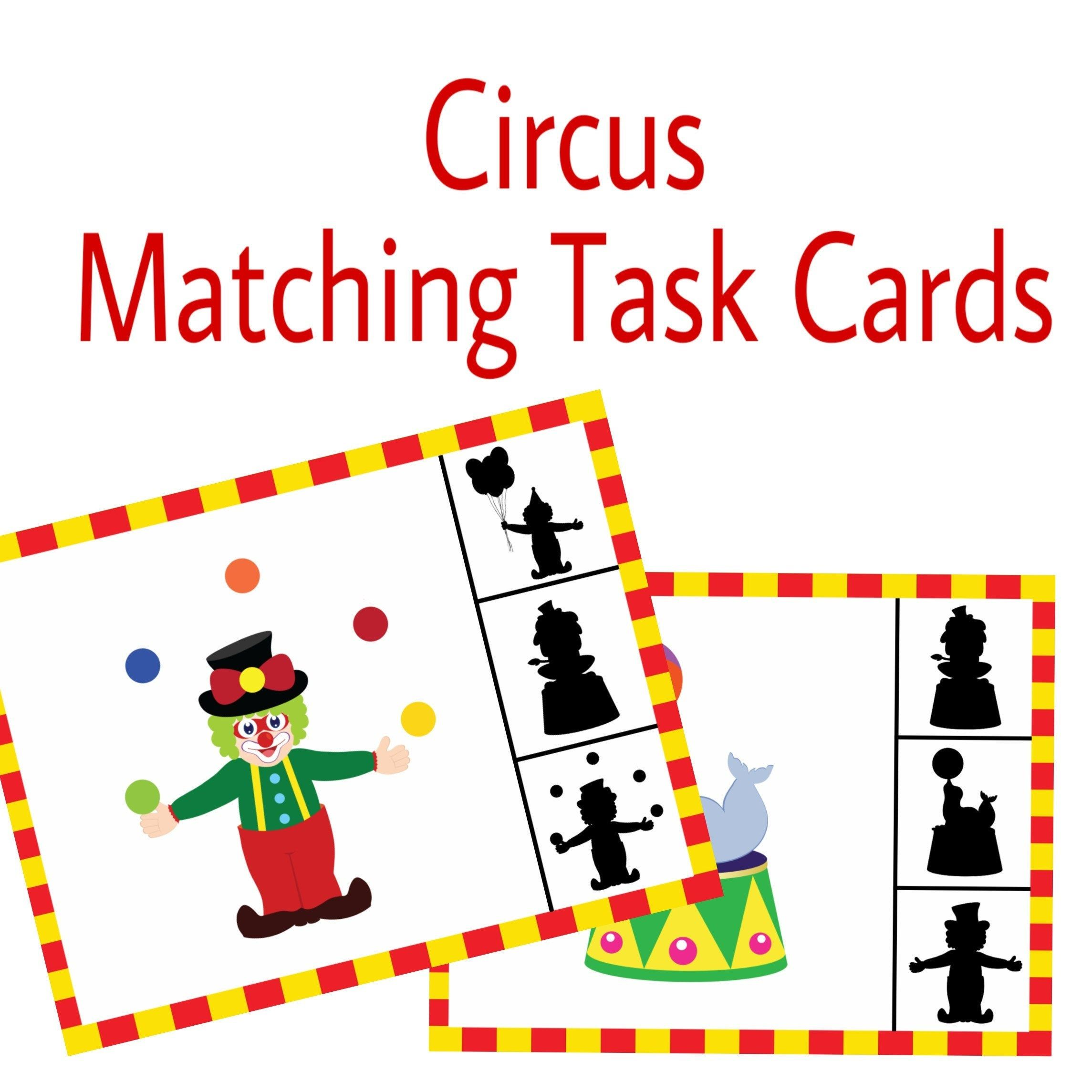 Circus Task Cards Matching Activity Printable Worksheet