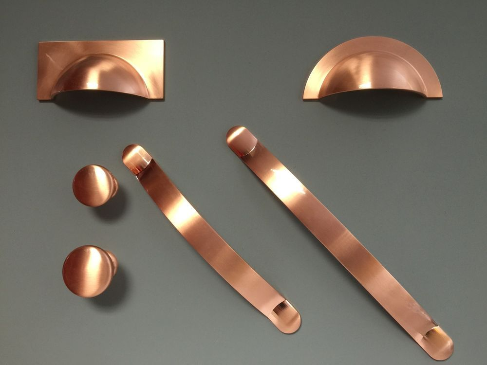 Brushed copper handles cups knobs pulls bows for kitchen for Kitchen cabinets handles