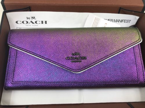 58a5528a94b4 NWT COACH hologram iridescent leather soft wallet 57213 gift box included