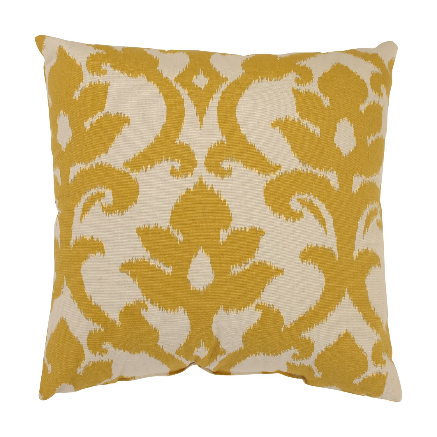 Toss This Gold Damask Throw Pillow On A Chair Sofa Or Bed To Add Bold Bright Pop Of Color Featuring Cream Background With Magnified Pattern