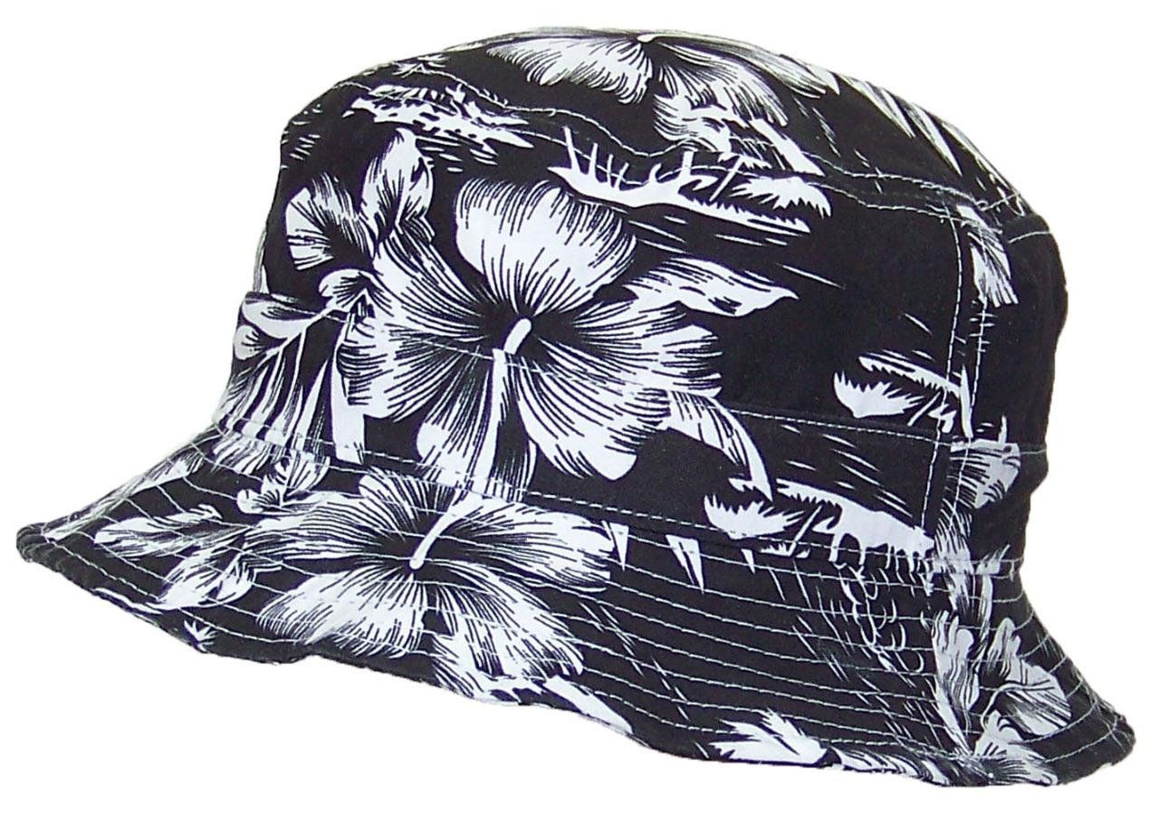 193a370dca5 ICON Lightweight Tropical Hawaiian Floral Designed Floppy Bucket Hat (One  Size) - Black White