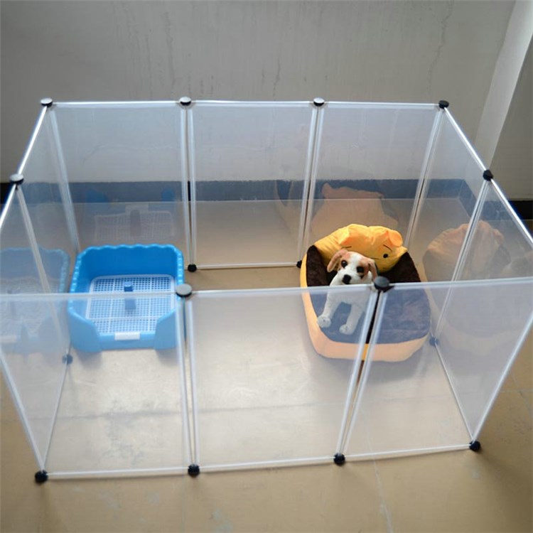 ペットフェンス ペットサークル ペット用ハイゲート 脱走防止柵 犬猫用 組立て式 設置簡単 半透明 10枚セット 犬ケージ 犬 ペット