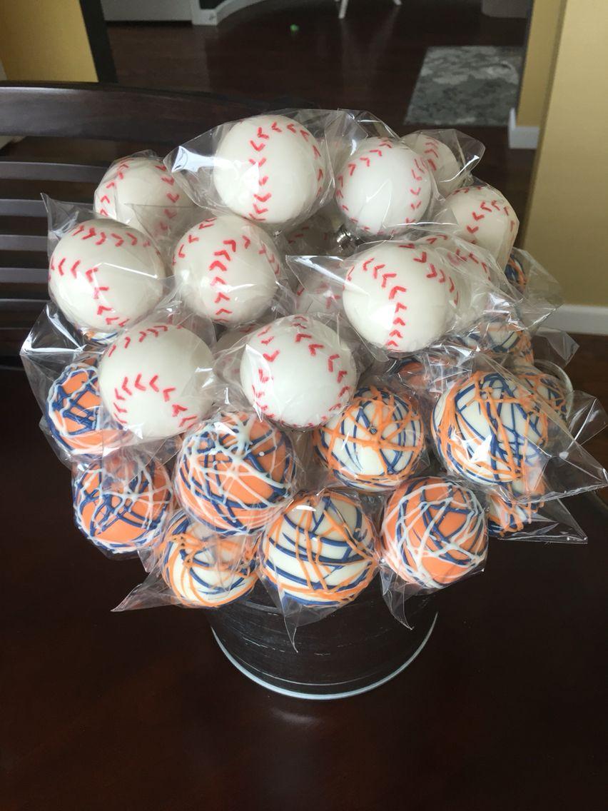 Baseball cake pops baseball cake pops