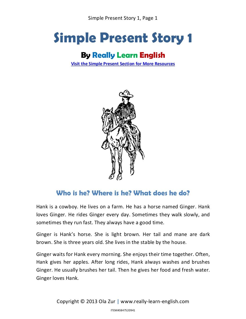 Simple Present Story 1 In