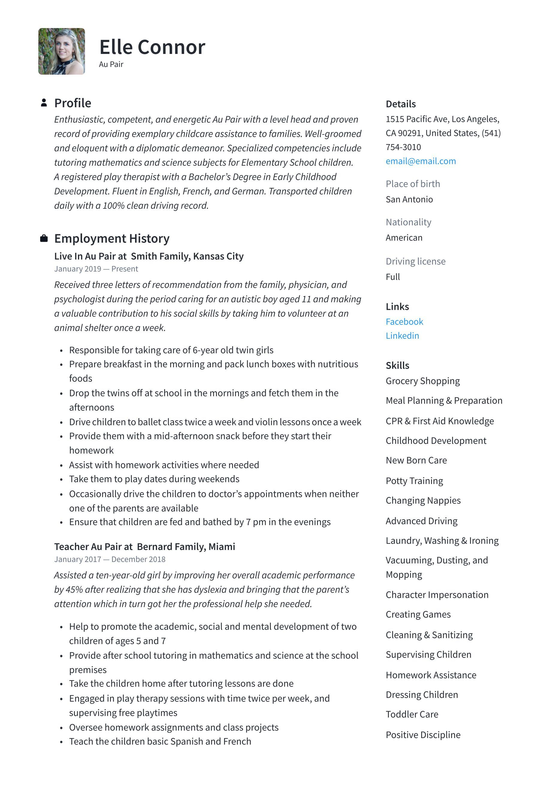 Au pair resume template in 2020 guided writing resume